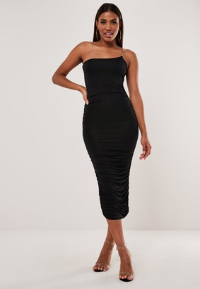 Missguided Black Slinky Chain Detail Midaxi Dress