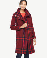 Ann Taylor Plaid Funnel Neck Coat