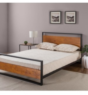 Zinus Suzanne Metal and Wood Platform Bed with Headboard and Footboard, Twin