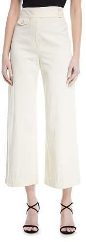 Veronica Beard Cayman High-Waist Wide-Leg Cropped Cotton Pants