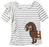 Ten Sixty Sherman Ruffle Stripe Weiner Dog Tee (Big Girls)