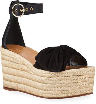 Valentino Garavani Leather Ankle-Strap Wedge Espadrilles