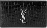 Saint Laurent Monogram croc-embossed leather clutch