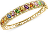 Effy Watercolors Multi-Gemstone (7 ct. t.w.) and Diamond (3/8 ct. t.w.) Openwork Bangle Bracelet in 14k Gold