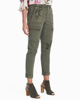 White House Black Market Embroidered Utility Slim Cargo Jeans