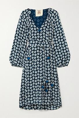 Figue Vivian Belted Printed Silk Crepe De Chine Dress - Midnight blue