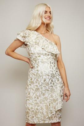 Little Mistress Dalston White Lace Gold Foil One-Shoulder Frill Dress