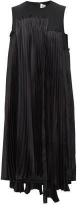 Noir Kei Ninomiya Plisse Houndstooth-panelled Wool-gabardine Dress - Womens - Black