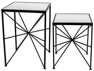 Bronx Ivy Gassett Metal and Mirror 2 Piece Nesting Tables Ivy