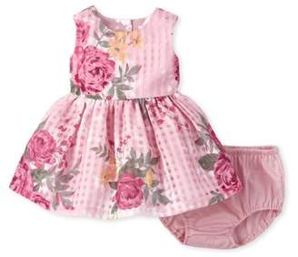 Children's Place The Baby Girl Sleeveless All Around Floral Print Lace Pleat Dress Bloomer 2 Piece Set