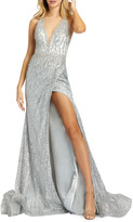 Mac Duggal Bead Embellished Cross-Back Thigh-Slit Trumpet Gown
