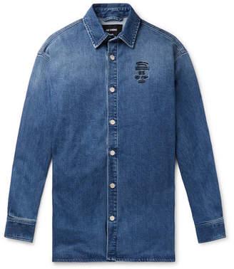 Raf Simons Oversized Logo-Embroidered Denim Shirt