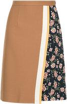 GUILD PRIME floral contrast A-line skirt