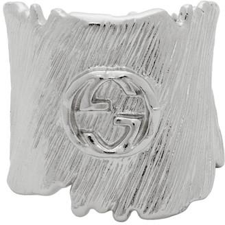 Gucci Silver Interlocking G Textured Band Ring