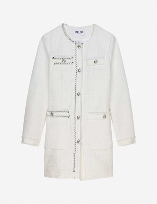 Claudie Pierlot Gabia longline cotton-blend tweed jacket