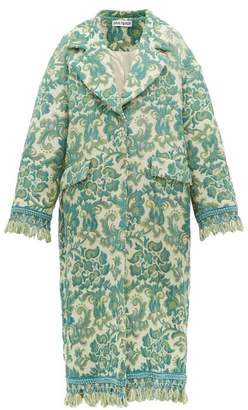 Rave Review - Lue Tasselled Vintage-jacquard Coat - Womens - Green Multi