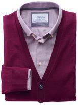 Berry Merino Wool Cardigan Size Medium By Charles Tyrwhitt