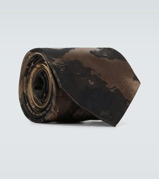 Dries Van Noten Tiger printed silk tie