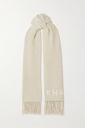 KHAITE Fringed Logo-embroidered Ribbed Cashmere Scarf - Cream