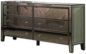 BestMasterFurniture Gray Brown With Antique Mirror 6 Drawer Dresser