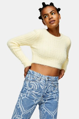 Topshop Womens Yellow Fluffy Ribbed Cropped Knitted Jumper - Lemon