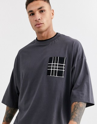 Asos DESIGN organic cotton oversized t-shirt with double neck layer and large check pocket