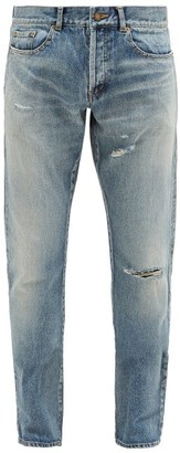 Saint Laurent Slim-leg Distressed Denim Jeans - Mens - Light Blue
