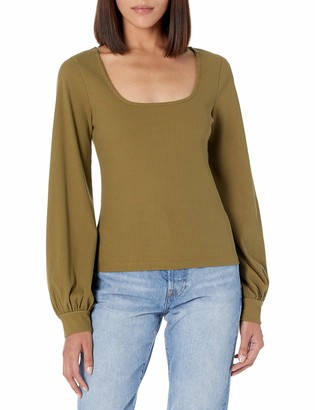 The Drop Women's @lucyswhims Square-Neck Balloon-Sleeve Cropped Top