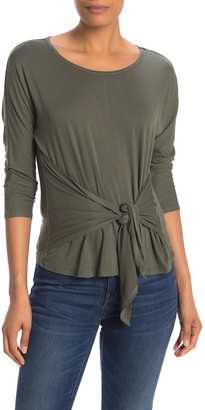 Bobeau 3/4 Length Sleeve Tie Front T-Shirt (Regular & Petite)
