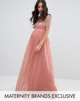 Little Mistress Maternity Lace Bodice Maxi Dress