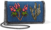 Stella McCartney The Falabella Embroidered Denim Shoulder Bag - Indigo