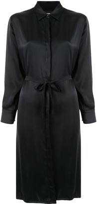 Lisa Von Tang Satin Shirt Dress