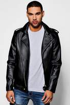 Boohoo Asymmetric Faux Leather Black Biker Jacket