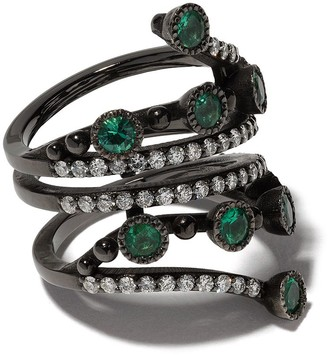 Colette 18kt Black Gold Emerald And Diamond Wrap Ring