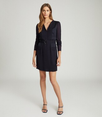 Reiss Addison - Belted Shift Dress in Navy