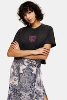 Topshop Womens Idol Love Fool Heart Print T-Shirt - Charcoal