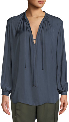 Halston Long-Sleeve Flowy Blouse