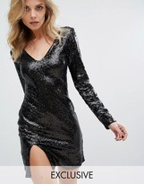 Club L V Front Mini Dress with Long Sleeve and Split