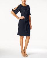 Connected Split-Sleeve Faux-Wrap Dress