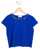 Milly Minis Girls' Embellished Short Sleeve Top