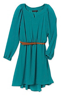 My Michelle Girls' 7-16 Teal Long Sleeve Peasant Dress with Belt