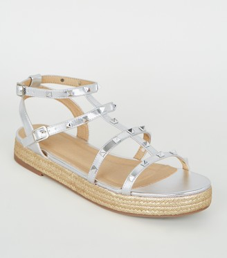 New Look Metallic Stud Gladiator Espadrille Sandals
