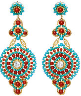 Turquoise and Coral Chandelier Earrings
