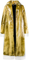 Calvin Klein faux fur coat with detachable transparent overlay