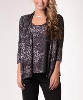 Black & Gray Leopard Shimmer Layered Cardigan