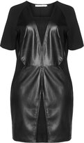 Studio Plus Size Faux leather block effect dress