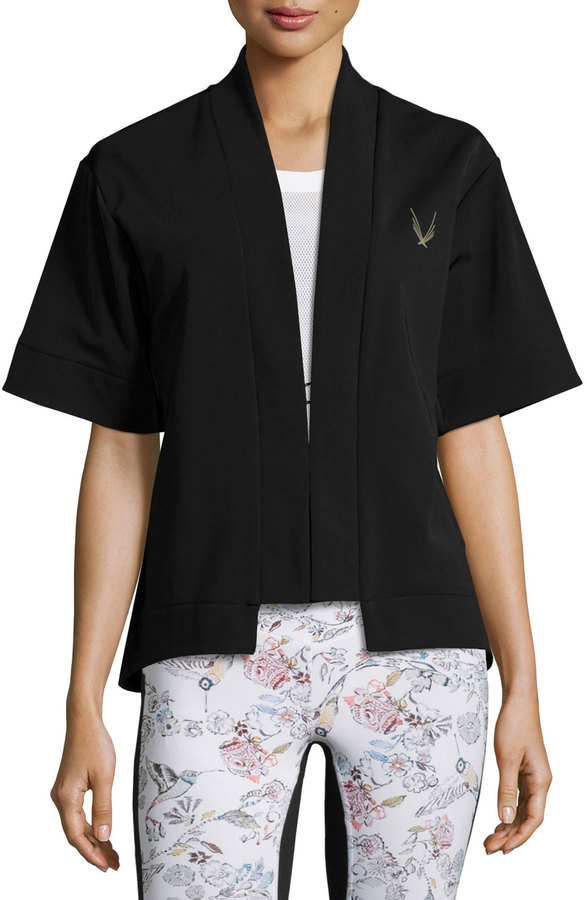 Lucas Hugh Open-Front Short-Sleeve Bolero Sport Jacket, Black