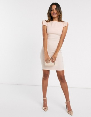 Vesper Poppy scalloped sleeve mini dress blush