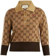 Gucci Contrast-collar GG-jacquard wool sweater