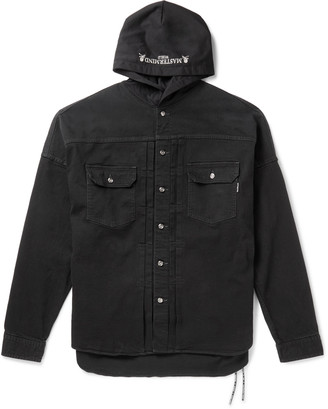 Mastermind Japan Logo-Embroidered Denim And Jersey Hooded Jacket